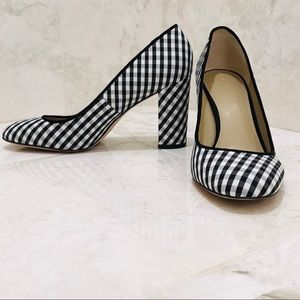 ANN TAYLOR {9M} Gingham Plaid Block Heel Shoes